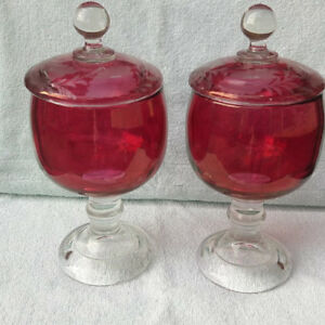 Ruby Red Bohemian Compotes With Cut To Clear Lids