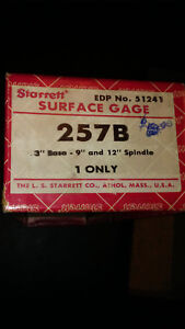 Starrett No 257b Surface Gage With 9 And 12 Spindles In Box