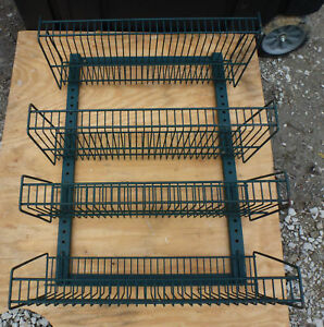 Wall Mount Wire Rack Basket Shelves 4 Tier Pegboard Display Merchandise Snack