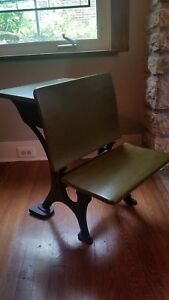 Antique Vintage Wood Cast Iron School Desk 5 Small For Younger Child