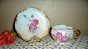 Victorian Moustache Mustache Hand Painted Gold Gild Cup Saucer Germany