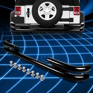 Black Coated Steel Double Pipe Bar Rear Bumper Guard For 1988 2006 Jeep Wrangler