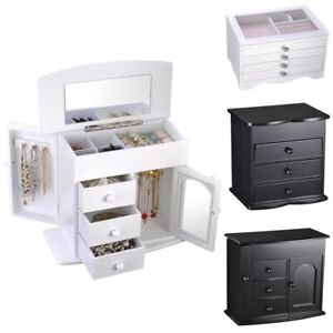 Jewelry Box Case Organizer Built in Mirror Watch Ring Earring Necklace Storage