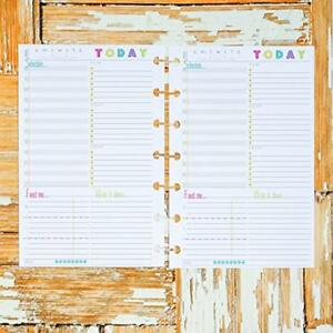 Day On One Page Undated Planner Inserts For Disc Bound Mini Size For Use W M