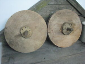 Pair Antique Architectural Salvage Farmhouse Wood Pulley Wheels Steampunk Carved