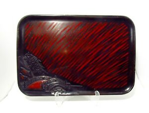 Antique Japanese Black Red Lacquer Tray With Carved Bridge Motif
