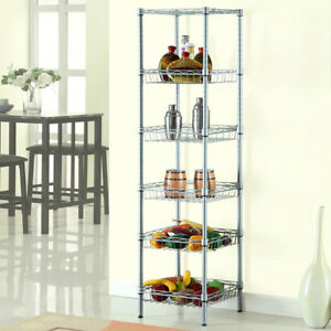6 Tier Wire Shelving Rack Unit Storage Adjustable Metal Shelf Garage Organizer