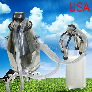 Portable Dairy Cow Milker Machine 304 Stainless Steel Bucket Tank Barrel Ce