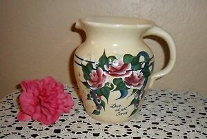 Vintage Crock Pottery Water Milk Pitcher Chic Hand Painted Love At All Times
