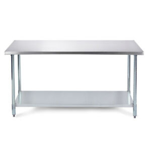 48 X 24 18 Gauge Work Prep Table W Galvanized Undershelf Stainless Steel