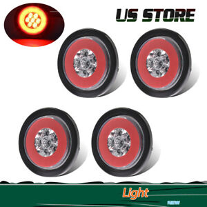 4x 4 Round Red 19led Marker Light Truck Trailer Brake Stop Turn Tail Halo Lamp