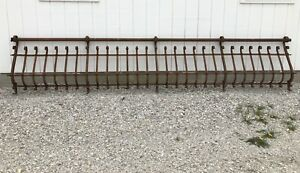Vintage Wrought Iron Steel Architectural Railing Garden Yard Art Fence Railing