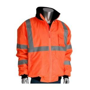 Pip Orange Class 3 Bomber Jacket m Reflective Construction 333 1762 or m