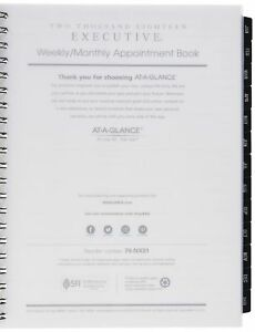 At a glance 11709111006 Executive Weekly monthly Planner Refill 15 minute 8