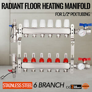 6 branch Radiant Floor Heating Manifold Set Extremely Durable Pre assembled