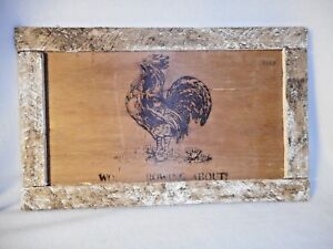 Rooster Picture In Old Wood Frame Wood Rooster Picture Primitive Art