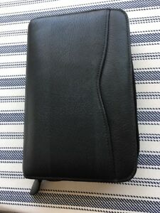 Day Timer Personal Planner Black Leather Agenda 6 Ring Compact Organizer