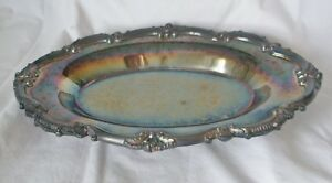 Vintage Epca Bristol Silver By Poole 35 Footed Serving Dish Oval 12 X 8