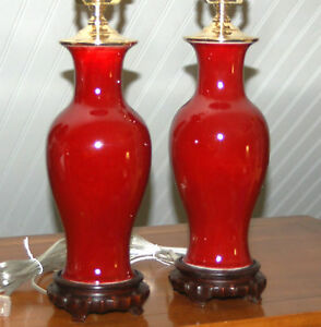 Chinese Oxblood Lamps Pair Red Porcelain Vases Sang De Boeuf Monochrome Flambe