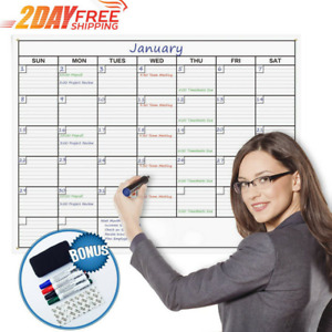 Dry Erase Wall Monthly Calendar Planner Double Stick Mount Scheduling Calendar