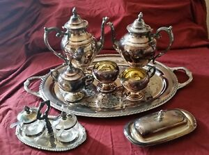 Wm Rogers Tea And Coffee Service Butter Dish Condiment Set Tray Estate Sale