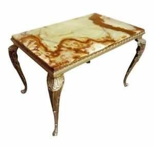 Antique Versailles Napoleon Style French Small Console Marble Top Table Brass Ca