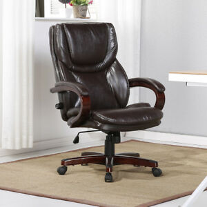 Executive Office Chair Leather Adjustable Lumber Support Back Faux Leather Brown
