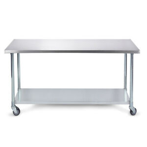 36 X 24 Home Kitchen Utility Stainless Steel Prep Table Adjustable W Wheels