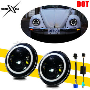 Dot 7 Inch Led Round Headlight Hi Low Cree Beam Fit Volkswagen Vw Beetle Classic