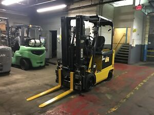 2012 Cat 5000 Lb Electric Forklift Triple Mast And Side Shift Fork Positioner