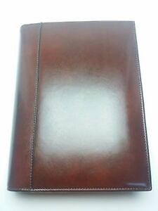 Tumi Brown Leather Organizer Zip Closure Day Planner Travel 3 Ring Binder