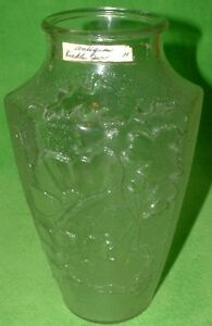 Antique 8 Side Octagon Textured Floral Clear Glass Tea Pickle Jar Vase 9 1 4 T