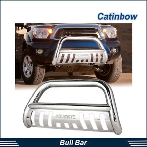 Stainless Bull Bar Brush Push Bumper Grill Guard For 2005 2015 Toyota Tacoma All