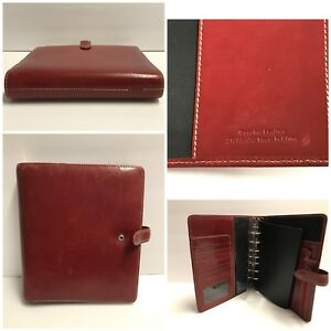 Franklin Covey Red Leather Binder Planner 7 Ring 1 25 Organizer 9 X 8