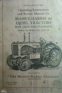 Massey harris 44 Diesel Tractor Operators Service Manual 72p Row Crop Standard