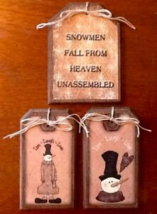 5 Handcrafted Wood Snowmen Fall From Heaven Ornaments Snowman Hang Tags Set1