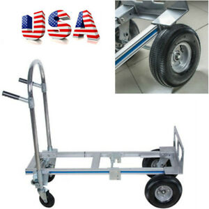 Hand Truck Moving Dolly 2 in 1 Convertible 4 wheel Platform Steel Cart