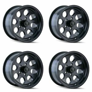 Set 4 16 Ion 171 Black Rims 16x8 5x5 5mm Lifted Jeep Wrangler Chevy Gmc 5 Lug