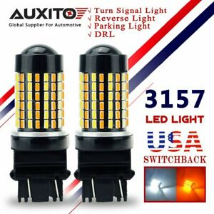 Auxito 2x 3157 Led Switchback Turn Signal Light Dual Color White Yellow Parking
