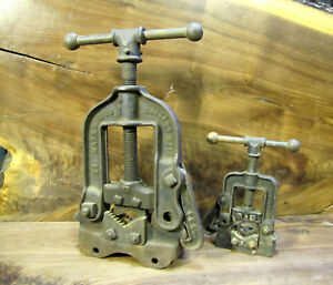 Lot Of 2 Vtg Pipe Vise Bench Or Truck Mount Reed No 7000 Mark No 1