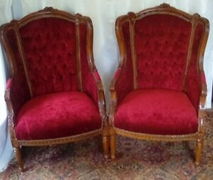 Pair Red Velvet Carved Louie Xv Style Bergeres Wingback Armchairs
