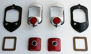 1951 1952 Chevy Car Red Blue Dot Tail Light Bezel Set 8 Pieces Free Shipping