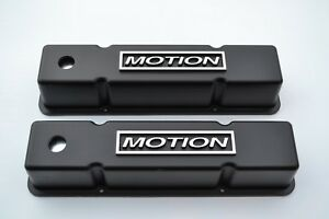 Chevrolet Valve Covers Sbc 350 383 Tall Aluminum Black Motion Usa Made New