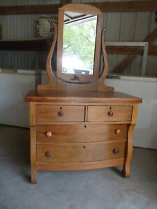 Vintage Oak Dresser With Oak Wishbone Tilting Mirror