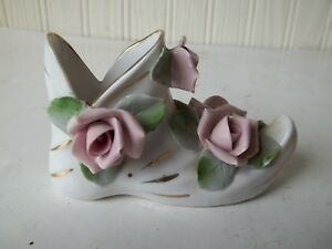 Vintage Antique Porcelain Hand Painted 3d Flowers Victorian Lady Shoe Boot