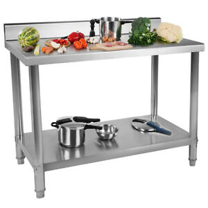 Adjustable Height Kitchen Table Double Stainless Steel Workbench Thicken type Fg
