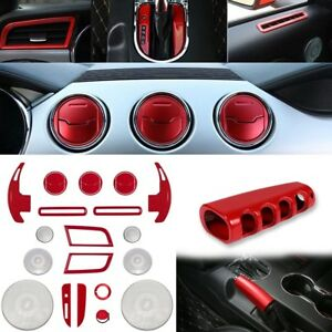 Red Interior Accessories Decoration Dash Parts Trim Cover For 15 18 Ford Mustang