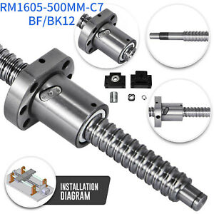 1pc Anti Backlash Ballscrew Rm1605 500mm c7 With Machined 1 Set Bk bf12 coupler