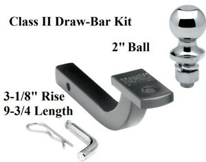 Class 2 Drawbar Kit W 2 Trailer Hitch Ball 3 1 8 Rise 1 1 4 Receiver Mount