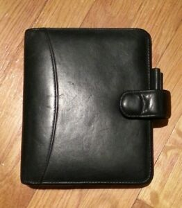 Black Franklin Covey Compact Leather Binder 6 Rings fits Personal Inserts Also